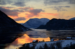 Ramfjord in Troms (John A.Hemmingsen) Tags: sunset sky seascape reflection water clouds norge nordnorge troms troms nikkor1685dx nikond7000