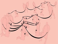 A digital drawing of pink figures bound by the necks with black rope, with black blindfolds and handbinds oppressing another. The rope from their neck binds are being held by an upright pink figure. These figures are repeated and arranged over a the image.