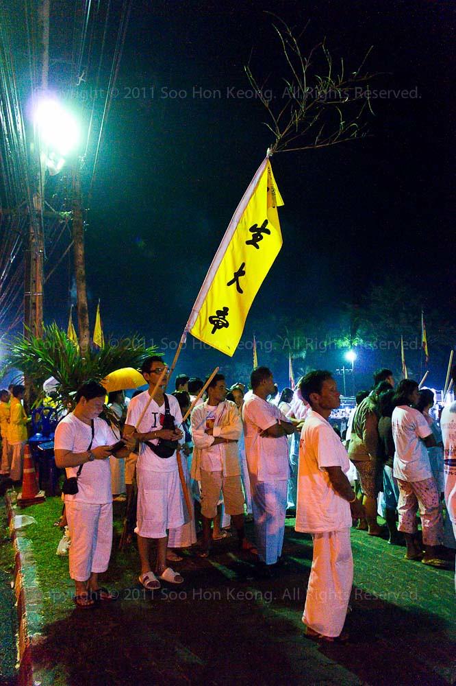 Waiting For Nine Emperor Gods propitiation farewell @ Ban Tha Rue Shrine, Phuket Vegetarian festival 2011, Phuket, Thailand