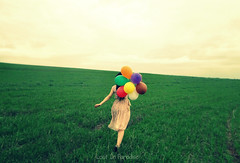 . (some_stuff) Tags: pink red sky woman green girl field grass yellow hair walking lost hands shoes paradise dress purple arms leg ballons horizont lostinparadisesony