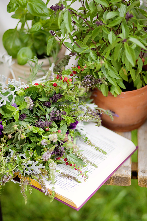 Bridel bouquet from my garden herbs - mint, rosemary, basil...