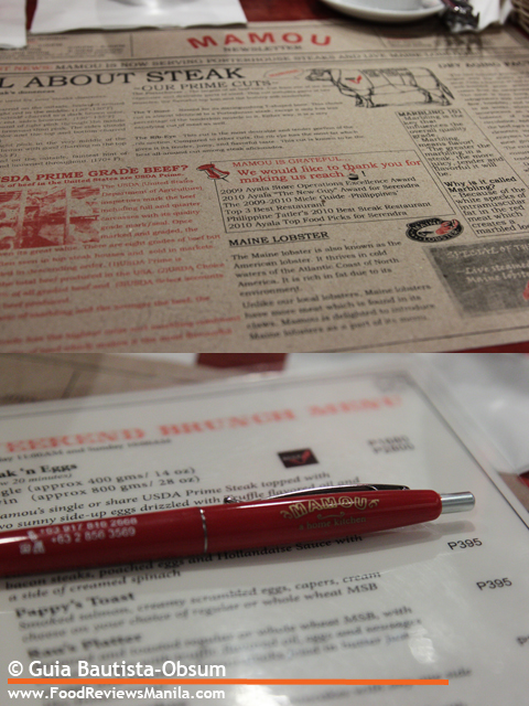 Food Reviews Manila Mamou menu and ballpen