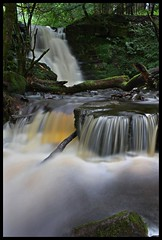 Double Waterfall in the Forest (Martyn.Smith. Back from Euro tour :)) Tags: longexposure trees water wales creek forest woodland river lens landscape geotagged photo waterfall log stream flickr flood map hiking cymru sigma os falls breconbeacons waterfalls software streaks cascade cachoeira usk picnik silt cascada slowshutterspeed chutedeau  waterval nant talybont slowwater scwd wasserfal platinumheartaward mygearandme