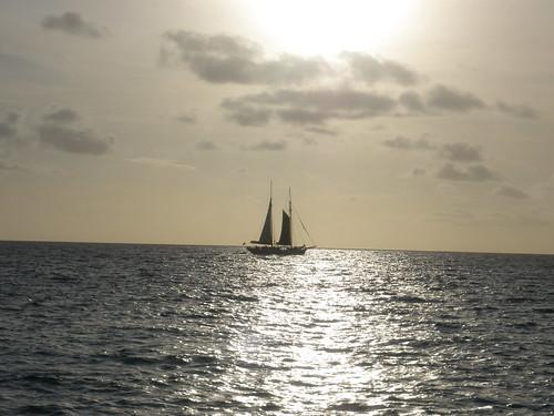 ocean sunset boat caribbean sintmaarten