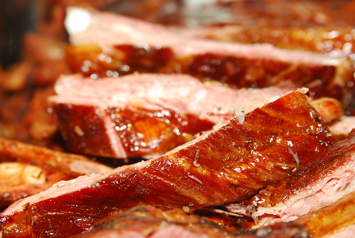 Close-up of BBQ pork ribs