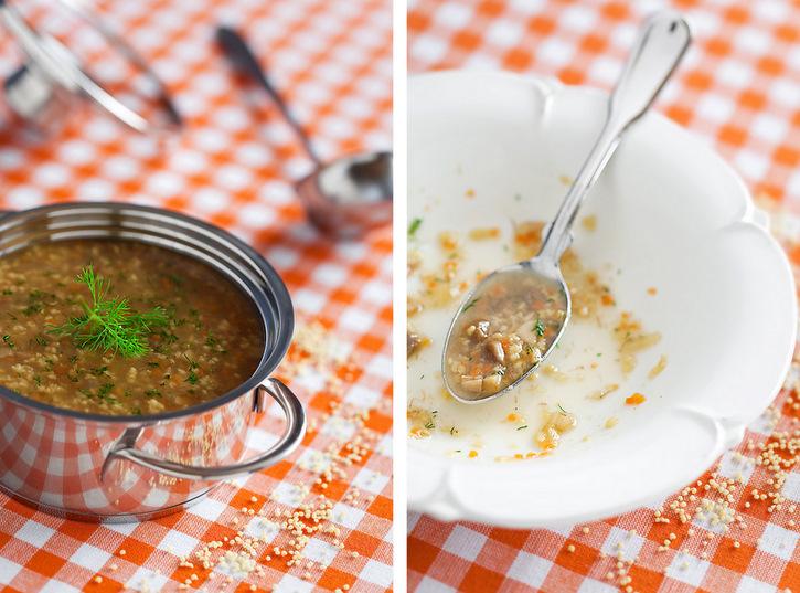Millet and mushroom soup