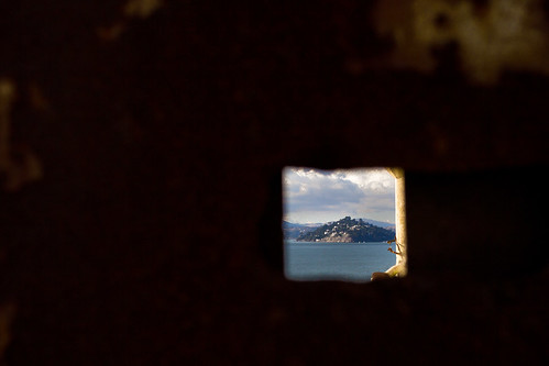 View through a heavy Alcatraz door