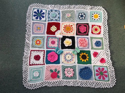 Thanks to everyone that has very kindly contributed Squares for this Blanket. 'Please add note' if you see your Flower Square!