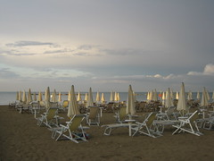 front row=light (SS) Tags: blue light sea summer vacation sky italy white seascape beach water beautiful weather june night clouds contrast canon photography grey evening sand colorful dof view angle cloudy pov details perspective scenic powershot clear parasol framing depth tone baywatch foreshore abruzzo celeste costaadriatica a480