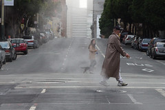 gunsmoke (bhautik joshi) Tags: sf sanfrancisco california walking grate crossing walk smoke pedestrian intersection crosswalk tenderloin sfist 2011 thetender bhautikjoshi