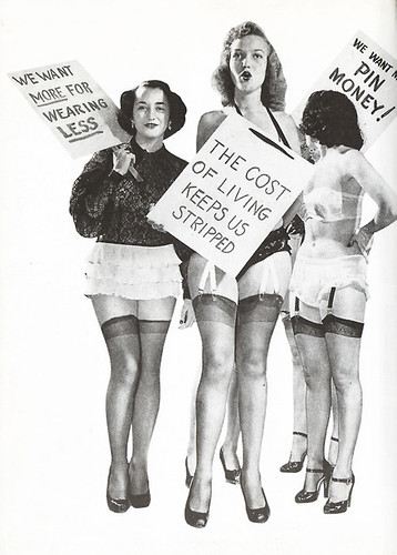 A vintage-looking illustration of three white women holding signs saying 'the cost of living keeps us stripped' 'we want more for earning less' and 'we want pin money'