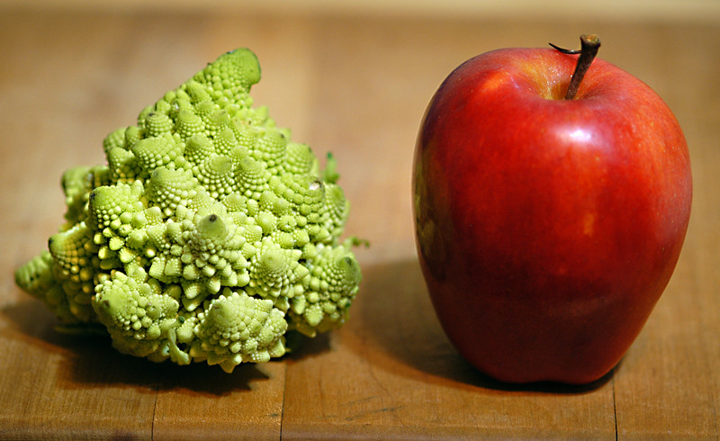 weird brocoli and apple