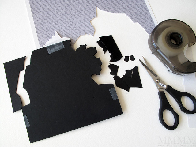 6 Print image & cut out the house roughly - stick to a 5 1-2 inch SQ black temporarily & cut out
