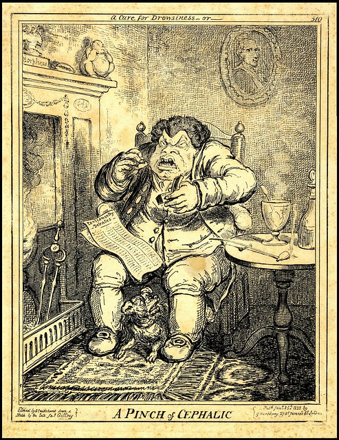 crude engraving of distressed, seated, fat man with snuff box in hand