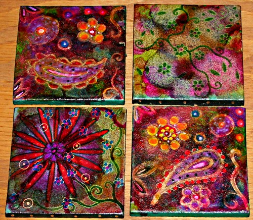 Hand Painted Coasters - Set 1 by Rick Cheadle Art and Designs