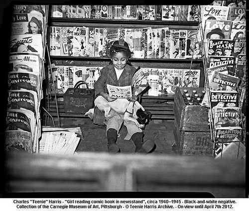 "Charles ""Teenie"" Harris - ""Girl reading comic book in newsstand"" , circa 1940–1945 by artimageslibrary"