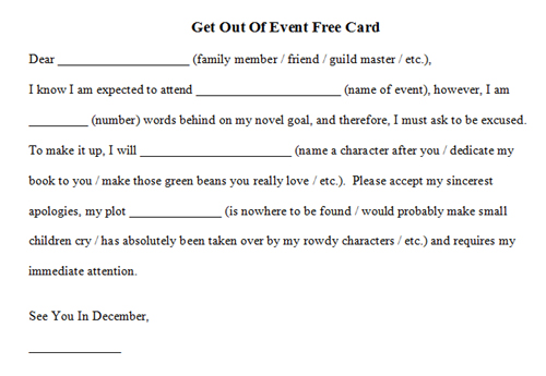 Get Out of Event Free Card