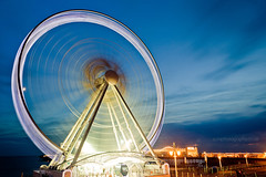 Brighton Wheel 5 (Sam_C_Moore) Tags: blue light sunset sky eye wheel night pier brighton spin ferris nd heliopan brightonwheel