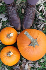 Vintage boots and pumpkins