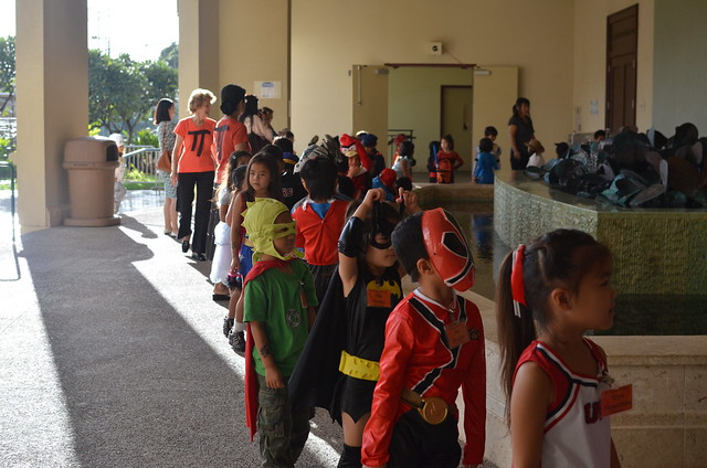 Kindergarteners going into Seto Hall