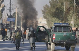 A bomb blast hit the United Nations offices in Kandahar, Afghanistan on October 31, 2011. The US-NATO war has continued for over ten years after the initial occupation. by Pan-African News Wire File Photos