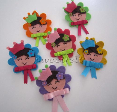 ♥♥♥ Pregadeiras para princesinhas fofas e vaidosas...  ;) by sweetfelt \ ideias em feltro