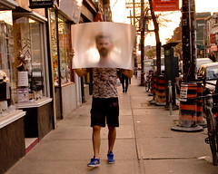 Big head Toronto (Philip Ward) Tags: street city people toronto canada west color colour male fashion female shopping walking lens big funny humorous head candid young surreal queen shops shorts stores sps 344 thedefiningtouch deftouch