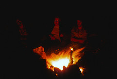 The Campfire (David R. Crowe) Tags: camping friends light people orange canada colour yellow fire friendship places northamerica aquatic canoeing quetico on attributes outdooractivities markwittrup danromanson