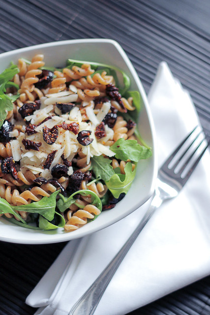 Parmigiano cheese, Black Olives and Rocket Wholegrain Fusilli