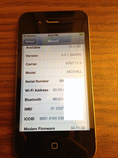 Running iOS 5.0.1, but I will Jailbreak for you if you want