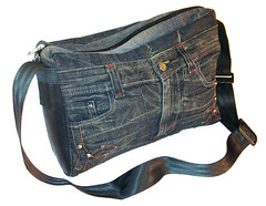 Fair Trade Products - Recycled denim jean shoulder bag (THE FAIR TRADE STORE) Tags: india car bag recycled seat delhi belts fair jeans denim products shoulder trade eco tyre conserve ethical