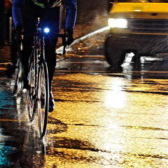 Rainy Night Rider @ Cambie St. (. Jianwei .) Tags: street city light urban rain bike yellow night vancouver reflections candid yang rainy 365 rider cambie pender a500 jianwei kemily