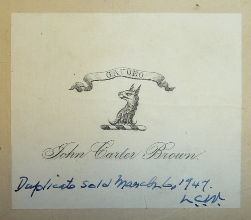 Bookplate of John Carter Brown (1797-1874); inscription by Lawrence C. Wroth (1884-1970)