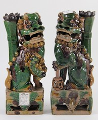 51. Pair of Antique Glazed Foo Dog Vases