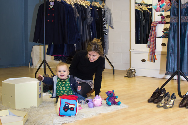 Gorgeous 9 month old baby Cuillin and mum Jo at 44 Frocks boutique in Wapping