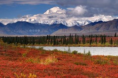 The High One (pdxsafariguy) Tags: autumn trees red mountain lake snow alaska clouds nationalpark seasons denali cantwell tomschwabel mountmckinley