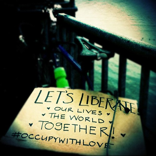 Sometimes it just works out that your deepest life goals can fit on a protest sign. #occupyportland #thephotoessayproject #liberation