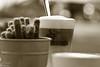 coffee (Axel Ku.) Tags: street city bw sun coffee sunshine relax sunday herbst kaffee monotone sw sonne sonntag würzburg sonnenschein hami lattemacchiato streetcoffee canoneos50d mokarabia sigma28200mmf3556dgmacro