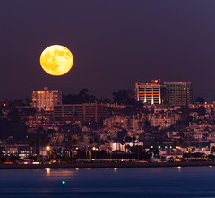 Moon over San Diego (Chimay Bleue) Tags: city blue urban moon building skyline night skyscraper lune landscape evening bay harbor twilight san long exposure downtown cityscape mr hill diego luna full uptown moonrise notphotoshopped bankers as