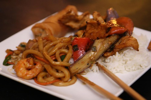 Shrimp Udon, Spring Roll, and Chicken with Eggplant Garlic Sauce