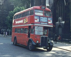 London Transport . RT1903 LLU811 . St Margaret 's , Westminster , London . May-1970 . (AndrewHA's) Tags: bus westminster sunday service regent euston saunders londonbus londontransport aec rt1903 route77b llu811