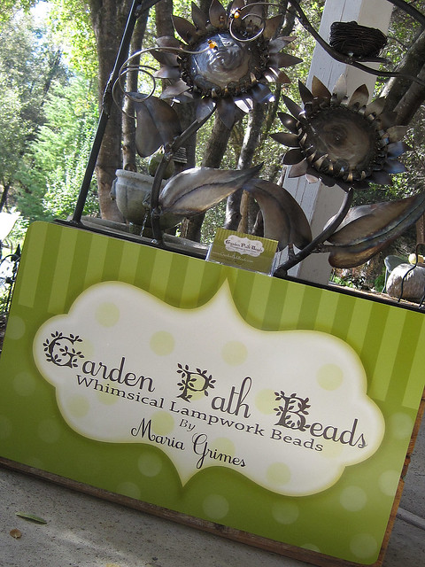 Garden Path Beads table-top sign