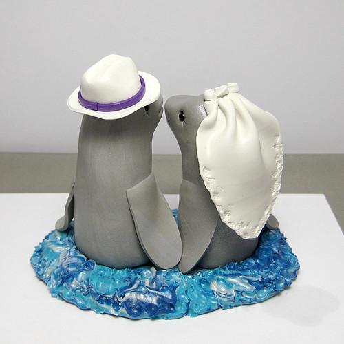 Dolphin Wedding Cake Topper Back View