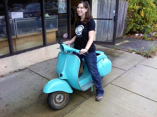 Taking delivery of my new Vespa