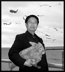 Seara (sea rabbit) and Dr. Takeshi Yamada at Coney Island Beach in Coney Island, Brooklyn, New York. (September 11, 2011)  Annual Coney Island Kite Festival. Black and White photograph. 20110911 100_2594 (searapart7) Tags: portrait sculpture newyork sexy celebrity rabbit art ecology fashion monster japan brooklyn painting coneyisland japanese tokyo google artist dragon dinosaur georgebush politics gothic goth victorian taxidermy vogue cnn tuxedo freak bbc playboy environment osaka abc genius mermaid salvadordali billclinton mythology pbs ronaldreagan anthropology cbs scientist jackalope nhk globalwarming cabinetofcuriosities kunstkammer zoology pablopicasso steampunk wunderkammer cryptozoology alberteinstein barackobama rushlimbaugh leonardodavinci circussideshow fijimermaid marinebiologist cryptid michaelbloomberg niconico seanhannity globalcooling michaelsavage takeshiyamada museumofworldwonders globalclimatechange roguetaxidermy searabbit marklevin