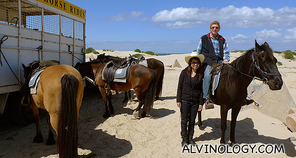 Eunice in a parting shot with Allen and the horses
