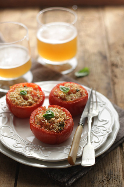 Tomatoes stuffed with quinoa and tofu