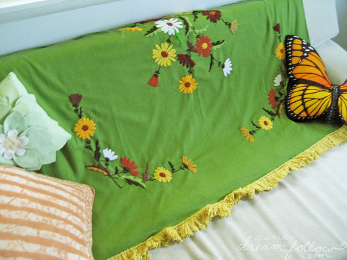 green crewel blanket