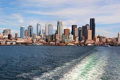 Seattle Skyline (stephencurtin) Tags: seattle usa color water ferry skyline photography daylight washington nikon wake state d90 thechallengefactory