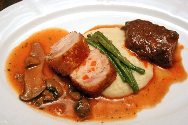 Ballotine de poulet a la Grand-Mère; and Bouef Bourguignon